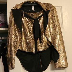 Gold and black/brown snakeskin sequin tuxedo set